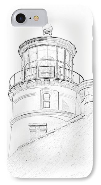 Hecitia Head Lighthouse Sketch IPhone Case by Jeffrey Jensen