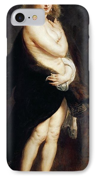 Helena Fourment In A Fur Wrap IPhone Case by Rubens