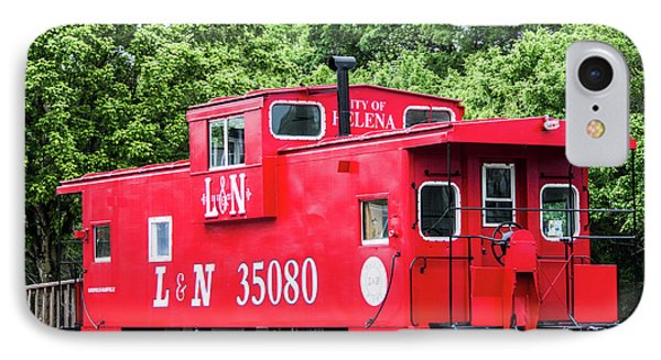 IPhone Case featuring the photograph Helena Red Caboose by Parker Cunningham