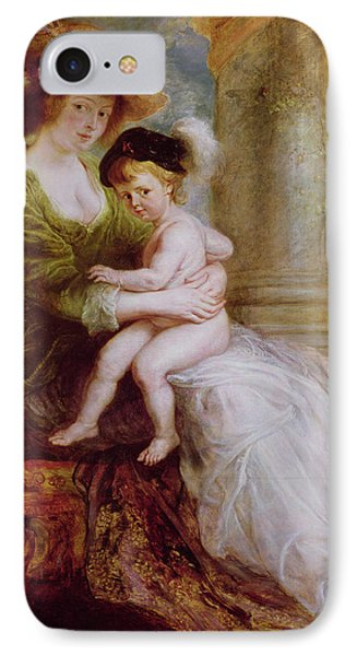 Helene Fourment And Her Son Frans Phone Case by Rubens
