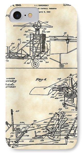 Helicopter iPhone 7 Case - Helicopter Patent 1940 - Vintage by Stephen Younts