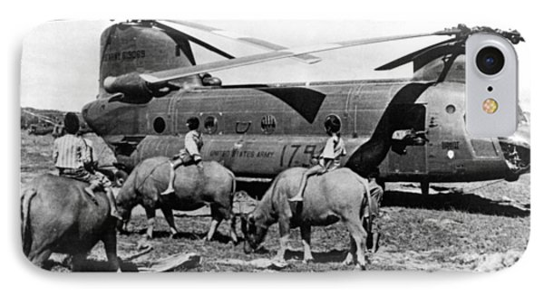 Helicopters And Water Buffalos IPhone Case by Underwood Archives