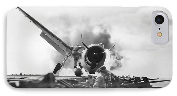 Hellcat Aircraft Slams Into U S S Enterprise Carrier  1943 IPhone Case by Daniel Hagerman