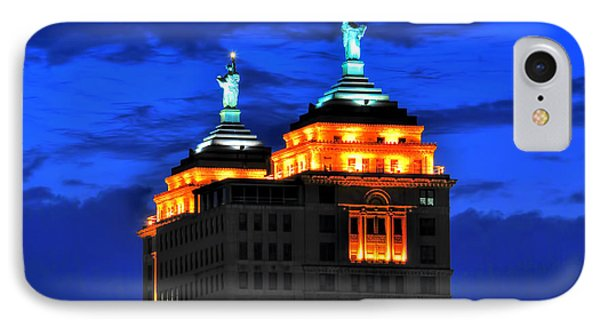 Hello Goodbye In Stormy Skies Atop The Liberty Building IPhone Case by Michael Frank Jr