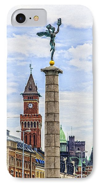 Helsingborg Cityscape Digital Painting IPhone Case