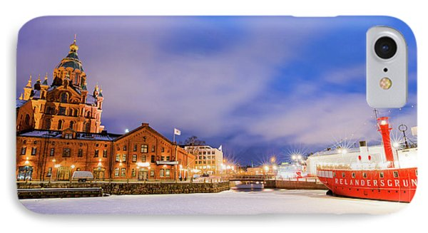 IPhone Case featuring the photograph Helsinki By Night by Delphimages Photo Creations