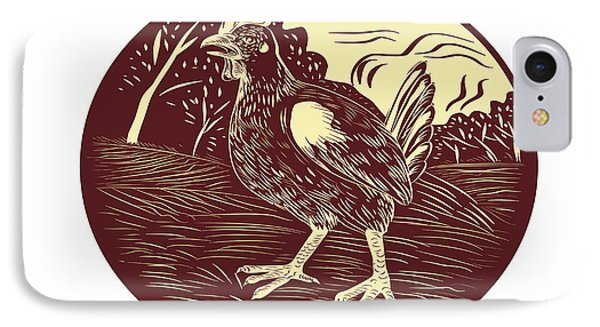 Hen Farm Oval Woodcut IPhone Case by Aloysius Patrimonio