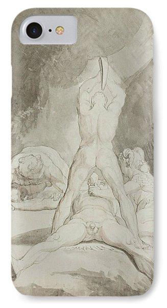 Hephaestus Bia And Crato Securing Prometheus On Mount Caucasus IPhone Case by Henry Fuseli