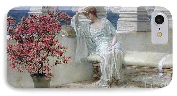 Her Eyes Are With Her Thoughts And They Are Far Away Phone Case by Sir Lawrence Alma-Tadema
