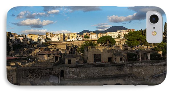 Herculaneum - The Old Town The New Town And Mount Vesuvius Looming On Top IPhone Case