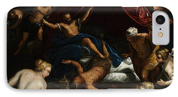 Hercules Expelling The Faun From Omphale's Bed IPhone Case by Tintoretto