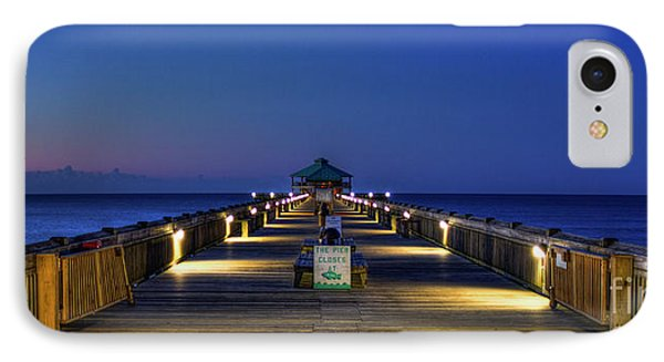 IPhone Case featuring the photograph Here It Comes Now Folly Beach Pier Sunrise Art by Reid Callaway