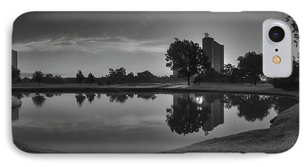 IPhone Case featuring the photograph Hermann Park Sunrise Black And White by Joshua House