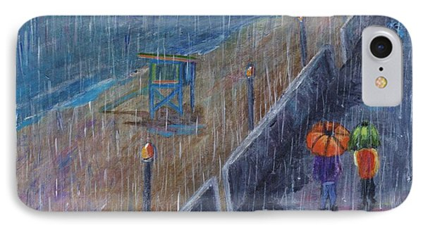IPhone Case featuring the painting Hermosa Beach Rain by Jamie Frier