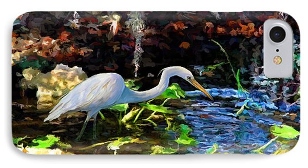 Heron In Quiet Pool IPhone Case by David  Van Hulst