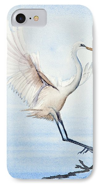 Heron Landing Watercolor IPhone Case by Michelle Wiarda