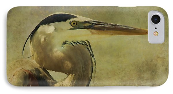Heron On Texture IPhone Case by Deborah Benoit