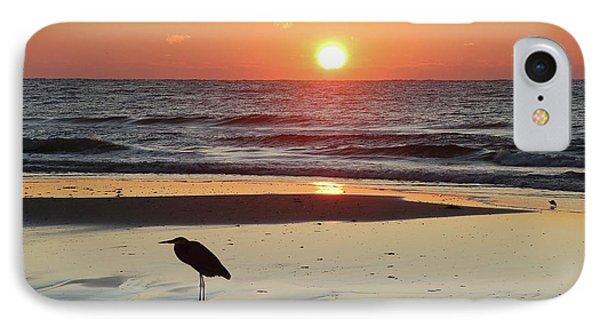 Heron Watching Sunrise IPhone Case by Michael Thomas