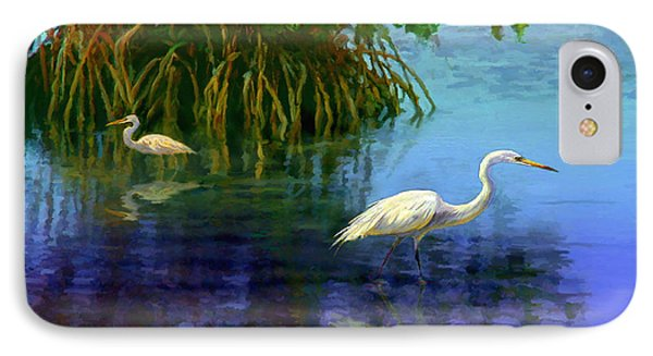 Herons In Mangroves IPhone Case by David  Van Hulst
