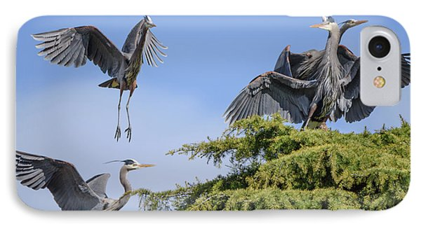 Herons Mating Dance IPhone Case by Keith Boone
