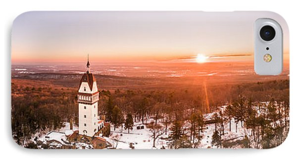 IPhone Case featuring the photograph Heublein Tower In Simsbury Connecticut, Winter Sunrise Panorama by Petr Hejl