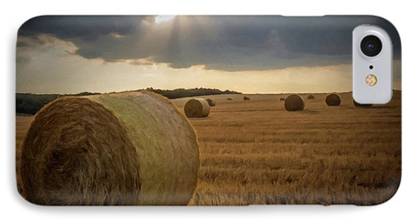 Hey Bales And Sun Rays IPhone Case by David Dehner