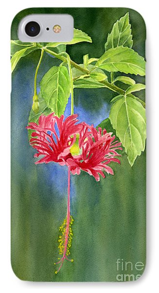 Hibiscus Chinese Red Lantern With Background Phone Case by Sharon Freeman