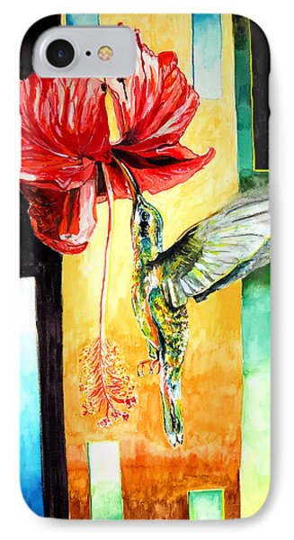 IPhone Case featuring the painting Hibiscus Hummingbird Visited by Daniel Janda