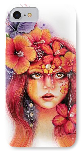 IPhone Case featuring the drawing Hibiscus by Sheena Pike