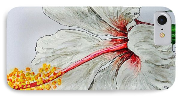Hibiscus White And Red IPhone Case by Sheron Petrie