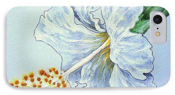 Hibiscus White And Yellow IPhone Case by Sheron Petrie