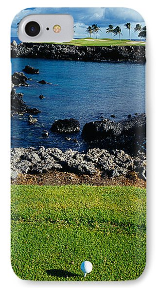 High Angle View Of A Golf Ball On A Tee IPhone Case by Panoramic Images