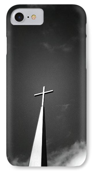 Cross iPhone 7 Case - Higher To Heaven - Black And White Photography By Linda Woods by Linda Woods