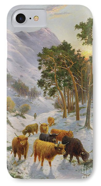 Highland Cattle In A Winter Landscape IPhone Case by Charles Watson