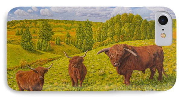 Highland Cattle Pasture IPhone Case by Veikko Suikkanen