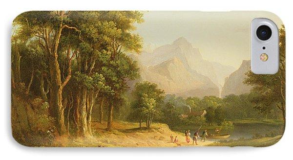 Highland Landscape With Figures IPhone Case by Alexander Nasmyth