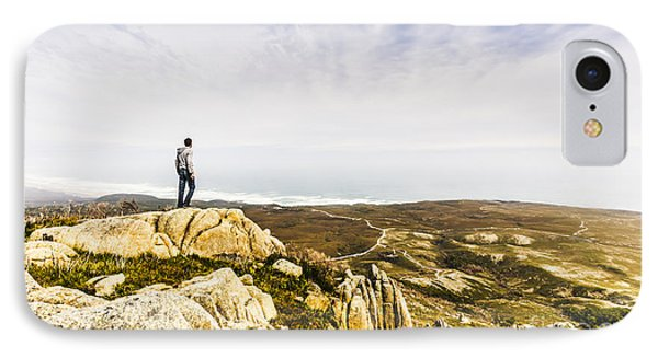 Hiker Man On Top Of A Mountain IPhone Case by Jorgo Photography - Wall Art Gallery