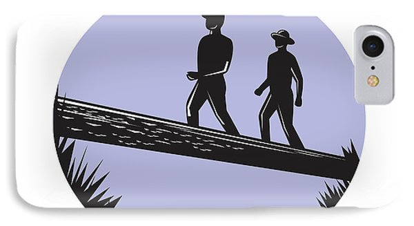 Hikers Crossing Single Log Bridge Oval Woodcut IPhone Case