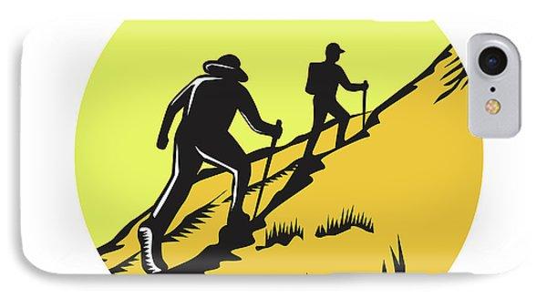 Hikers Hiking Up Steep Trail Circle Woodcut IPhone Case by Aloysius Patrimonio