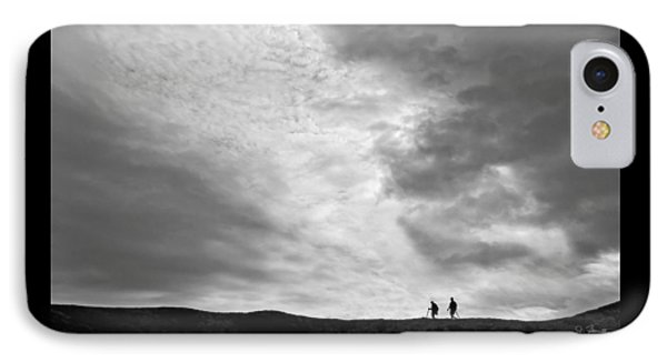 IPhone Case featuring the photograph Hikers Under The Clouds by Joe Bonita