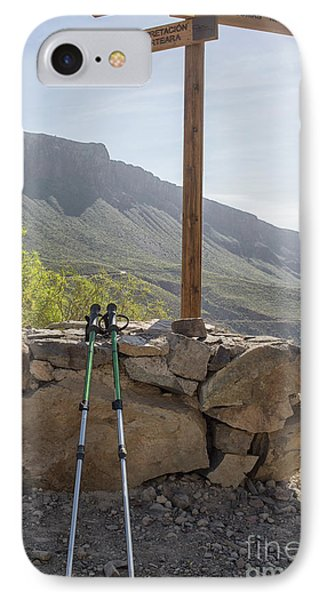 Hiking Poles Resting Near Sign IPhone Case by Patricia Hofmeester