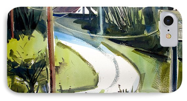 IPhone Case featuring the painting Hill Top Drive Apartments Matted Framed Glassed by Charlie Spear