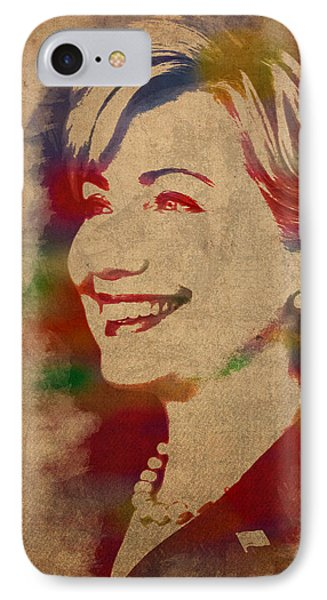 Hillary Rodham Clinton Watercolor Portrait IPhone Case by Design Turnpike