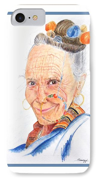 Himalayan Smile Lines -- Portrait Of Old Asian Woman IPhone Case