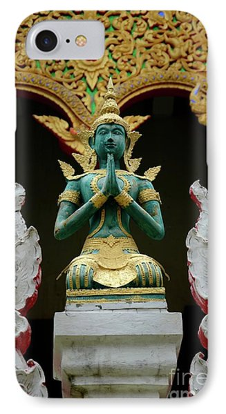Hindu Deity Greets At Buddhist Temple Chiang Mai Thailand IPhone Case by Imran Ahmed