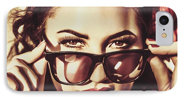 Hip 60s Pinup Girl In Classic Eyewear Sunglasses IPhone Case