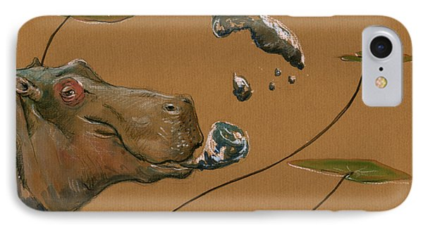 Hippo Bubbles IPhone Case by Juan  Bosco