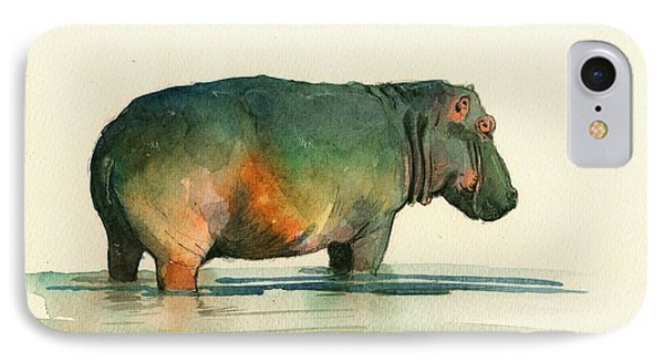 Hippo Watercolor Painting IPhone Case by Juan  Bosco
