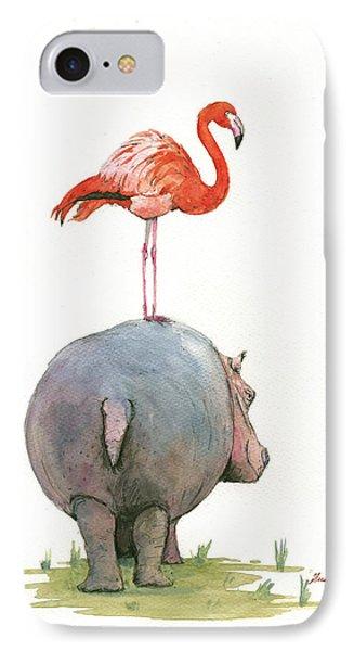 Hippo With Flamingo IPhone 7 Case