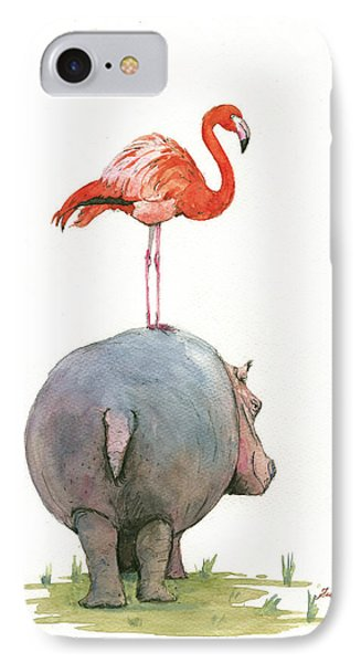 Hippo With Flamingo IPhone Case by Juan Bosco